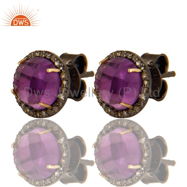 14K Yellow Gold Pave Diamond And Amethyst Round Stud Earrings For Womens