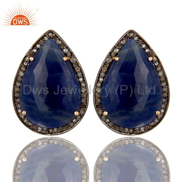 Solid 14K Yellow Gold Pave Diamond And Blue Sapphire Pear Shape Stud Earrings