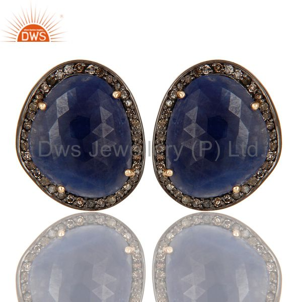 14K Yellow Gold Pave Set Diamond And Blue Sapphire Ladies Stud Earrings