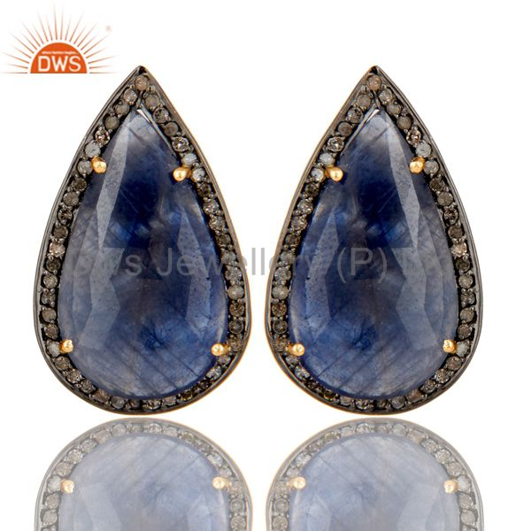 Oxidized 14K Yellow Gold Pave Diamond And Blue Sapphire Drop Stud Earrings