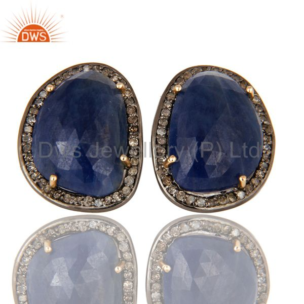 Solid 14K Yellow Gold Sterling Silver Pave Diamond Blue Sapphire Stud Earrings