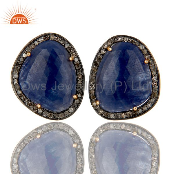 Blue Sapphire Stud Earrings With Pave Diamonds In 14K Solid Yellow Gold