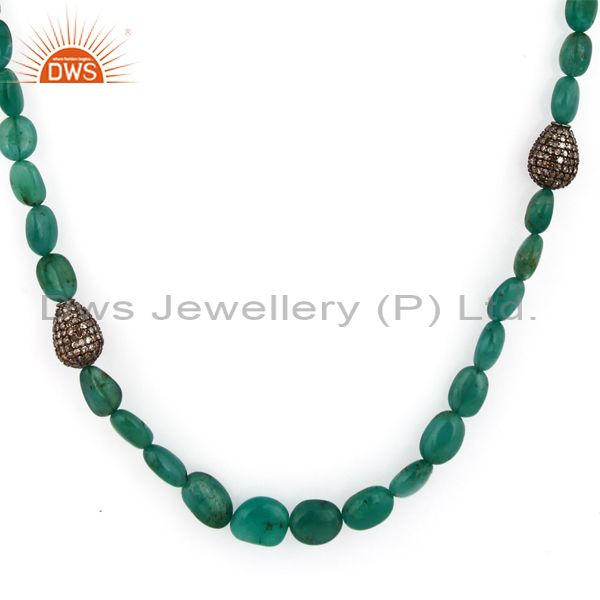 Polished Emerald Gemstone Beads 18K Solid Gold Pave Diamond 925 SIlver Necklace