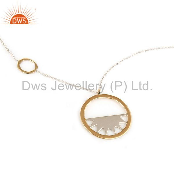 """18K Yellow Gold And Sterling Silver Handmade Half Moon Pendant With 16"""" In Chain"""