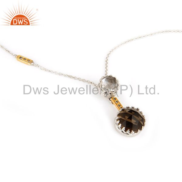 18K Yellow Gold Smoky Quartz And Natural Diamond Pendant With Chain