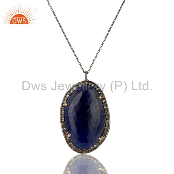 Natural Blue Sapphire And Pave Diamond Pendant Necklace In 14K Yellow Gold