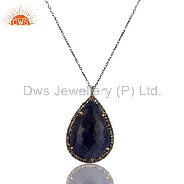 Blue Sapphire And Pave Diamond 14K Solid Yellow Gold Pendant Chain Necklace
