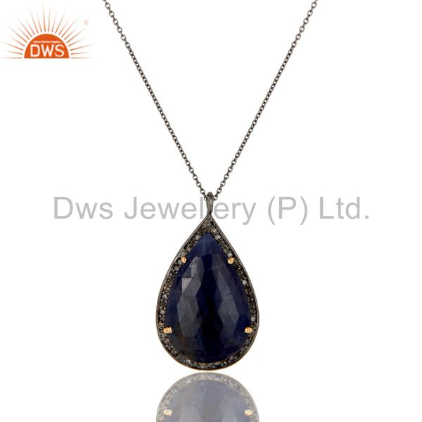 Real Blue Sapphire And Pave Diamond 14K Yellow Gold Silver Pendant Necklace