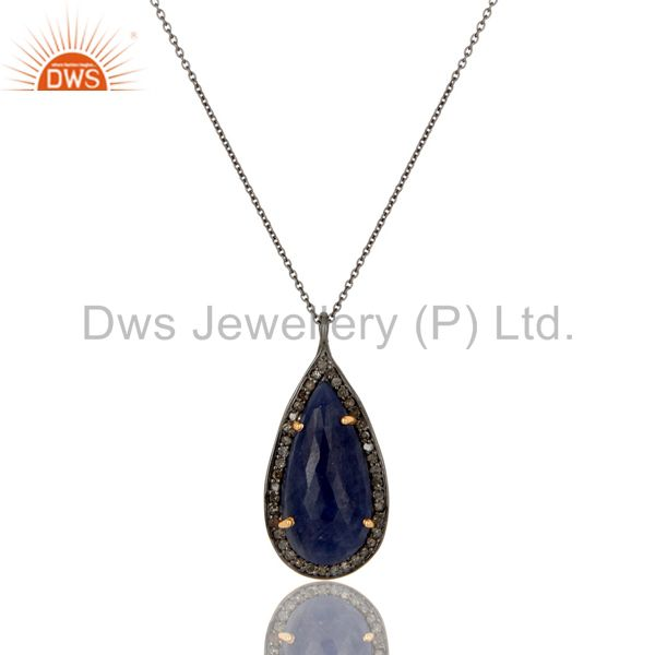 Blue Sapphire And Pave Diamond Solid 14K Yellow Gold Silver Pendant Necklace