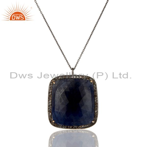 14K Solid Yellow Gold Pave Diamond And Blue Sapphire Pendant With Chain