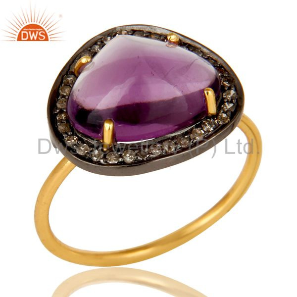 14K Solid Yellow Gold Amethyst And Pave Set Diamond Cocktail Stacking Ring