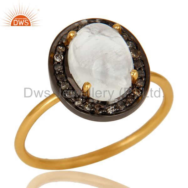 14K Solid Yellow Gold Pave Diamond And Rainbow Moonstone Stackable Ring