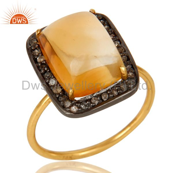 14K Solid Yellow Gold Pave Set Diamond And Citrine Gemstone Stackable Ring