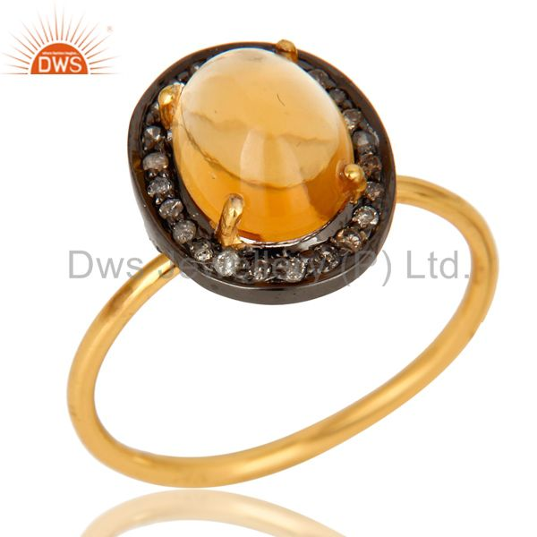14K Solid Yellow Gold Pave Diamond And Citrine Gemstone Stackable Ring