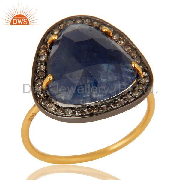 Prong Set Blue Sapphire 14K Yellow Gold Gemstone Stackable Ring With Diamond