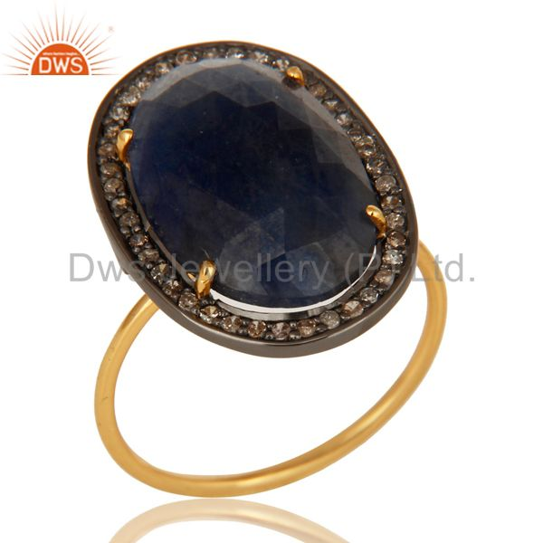 14K Yellow Gold Natural Oval Blue Sapphire Cocktail Engagement Ring With Diamond