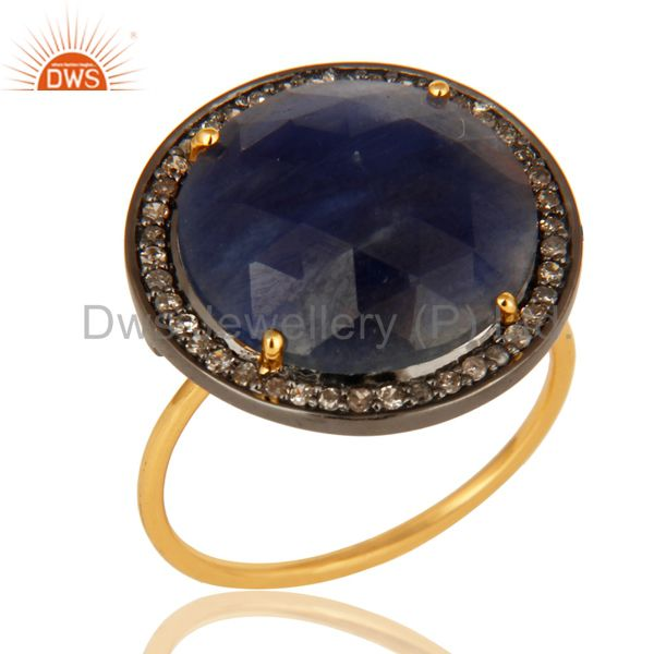 Prong Set Blue Sapphire Gemstone Pave Set Diamond 14K Yellow Gold Stackable Ring