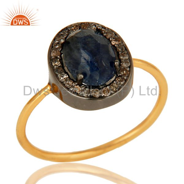 Natural Blue Sapphire Gemstone And Pave Diamond 14K Gold Wedding Stackable Ring