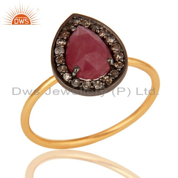 14K Solid Yellow Gold Natural Ruby And Pave Diamond Stacking Ring