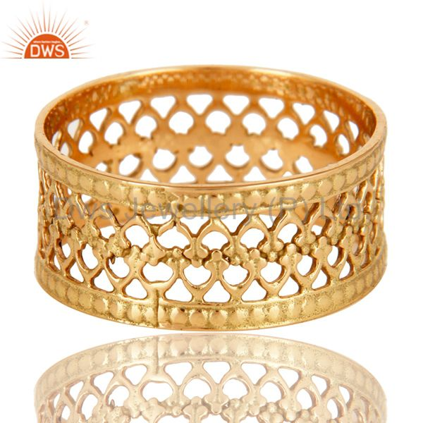 18K Solid Yellow Gold Handmade Filigree Wide Band Wedding Ring