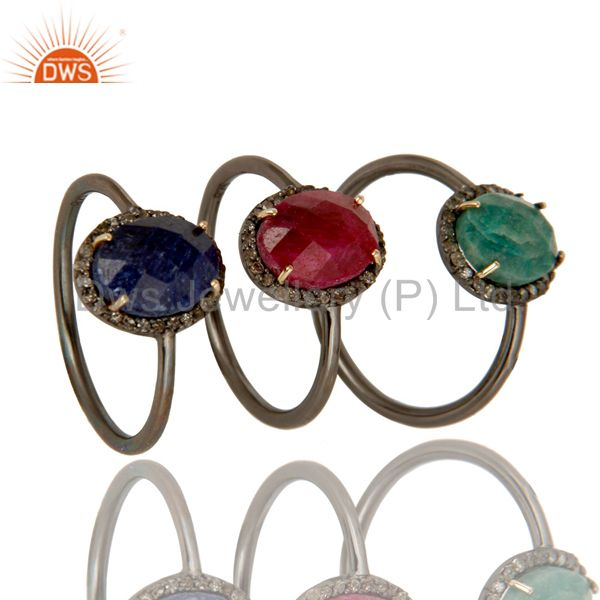 14K Gold Blue Sapphire, Emerald And Ruby Pave Diamond Stacking Ring 3 Pcs Set