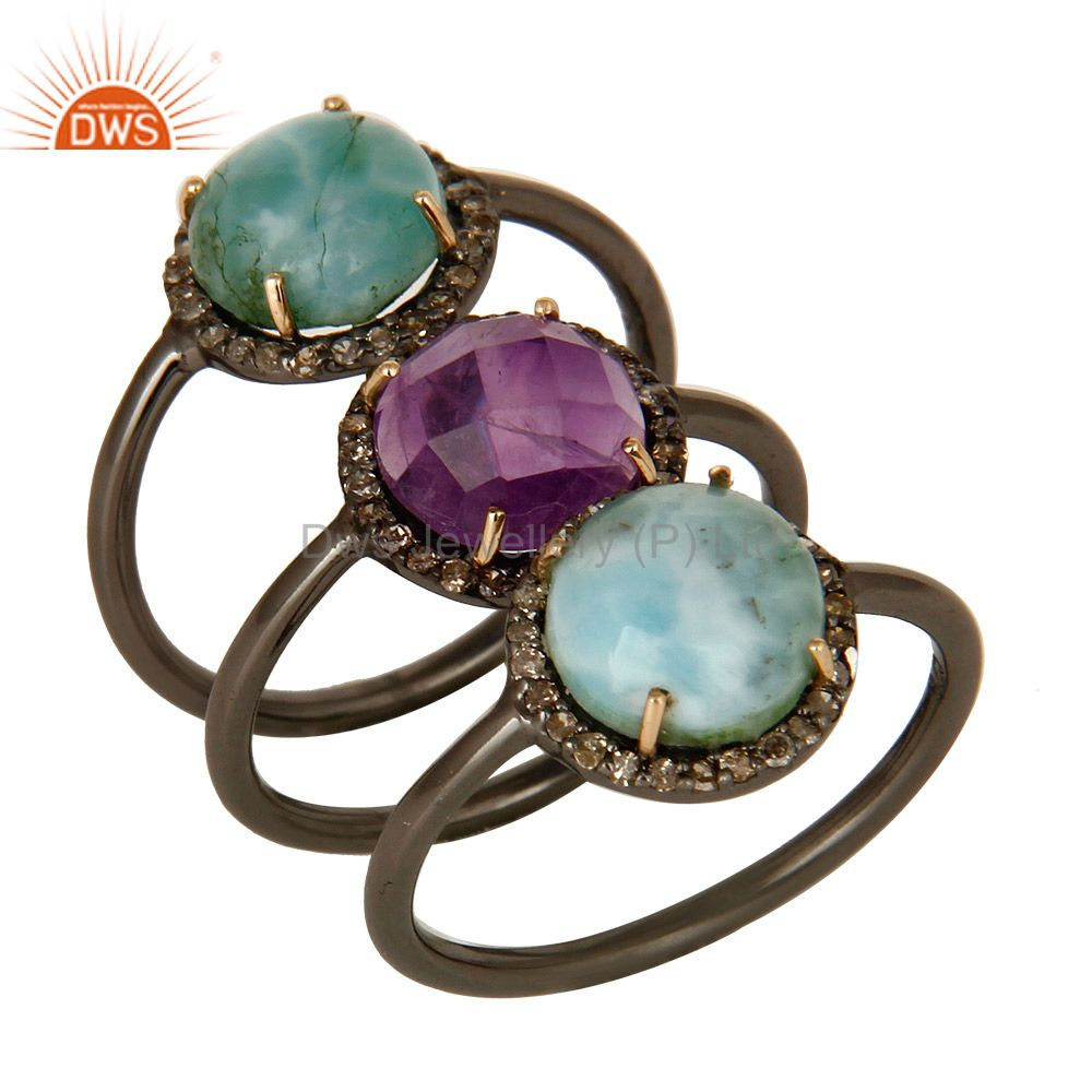 14K Yellow Gold Pave Diamond Amethyst And Larimar Stacking 3 Pieces Ring Set