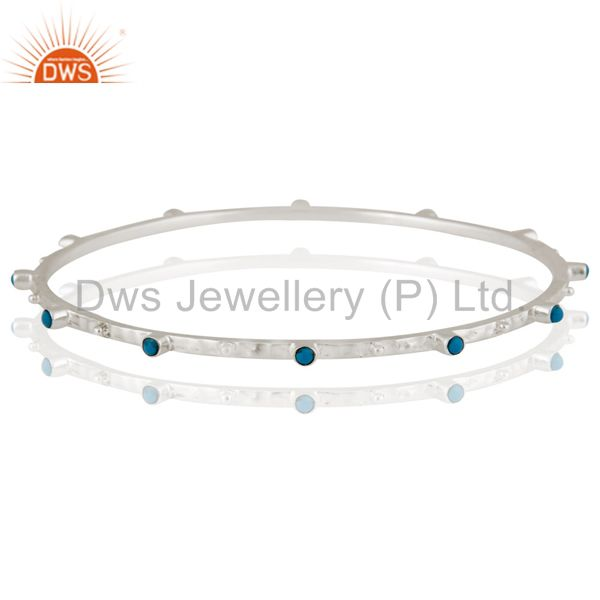 925 Sterling Silver Turquoise Gemstone Stackable Bangle Bracelet Jewelry