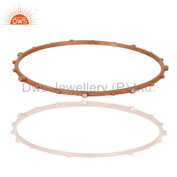 Simulated Diamond 925 Sterling Silver Rose Gold Plated Handmade Bangle Jewelry