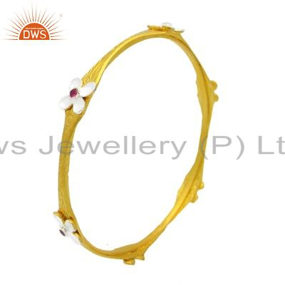 22K Yellow Gold Plated Sterling Silver Red Cubic Zirconia Bangle Bracelet