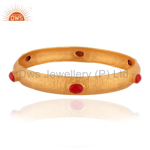 925 Sterling Silver Red Coral Natural Gemstone 24k Gold Plated Stackable Bangle