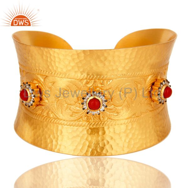 18K Yellow Gold Plated Red Coral And White Zircon Extra Wide Cuff Bracelet Bang