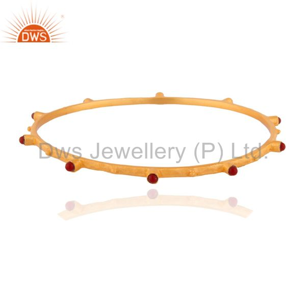 Indian Handmade Ruby Gemstone Sterling Silver Bangle Gold Plated Jewelry