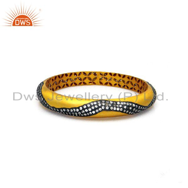 22K Yellow Gold Plated Sterling Silver Cubic Zirconia Womens Fashion Bangle