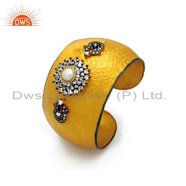 Handmade Sterling Silver CZ And Pearl Fashion Cuff Bracelet Bangle - Gold Plated