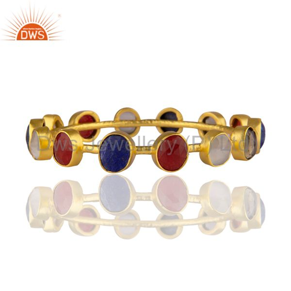 22K Yellow Gold Plated Brass Lapis Lazuli And Red Aventurine Gemstone Bangle