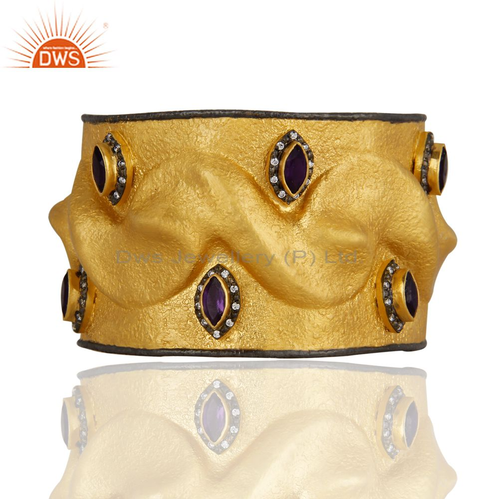 Matte Finish 18K Gold Plated Sterling Silver Amethyst And CZ Wide Cuff Bangle