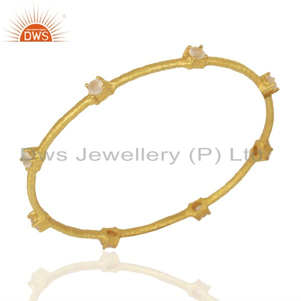 Rose Chalcedony Sleek 14K Yellow Gold Plated 925 Sterling Silver Bangle Jewelry