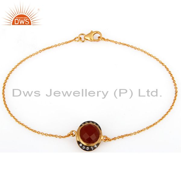 18K Gold Plated Sterling Silver Red Onyx And Cubic Zirconia Chain Bracelet