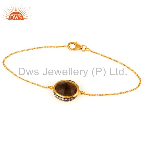 Handcrafted Gold Plated Sterling Silver Faceted Smoky Quartz & CZ Chain Bracelet