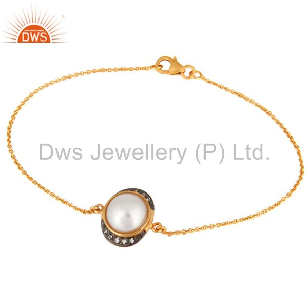 Natural Pearl & CZ Sterling Silver Womens Fashion Bracelet With Gold Plated