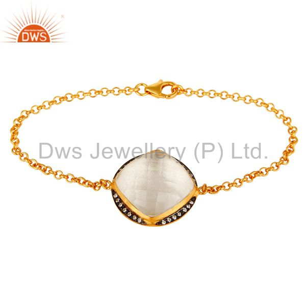 14K Yellow Gold Plated Sterling Silver Crystal Quartz And CZ Chain Bracelet