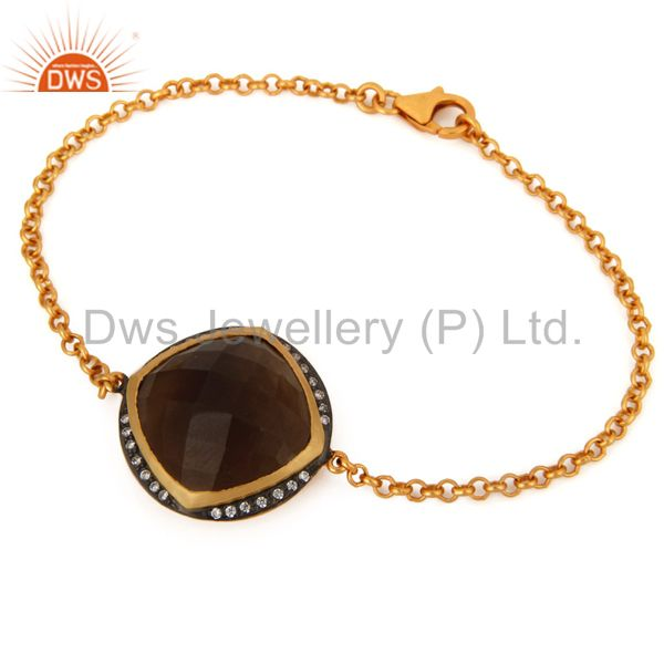 925 Sterling Silver Smoky Quartz Gemstone Gold Plated Chain Bracelets With CZ