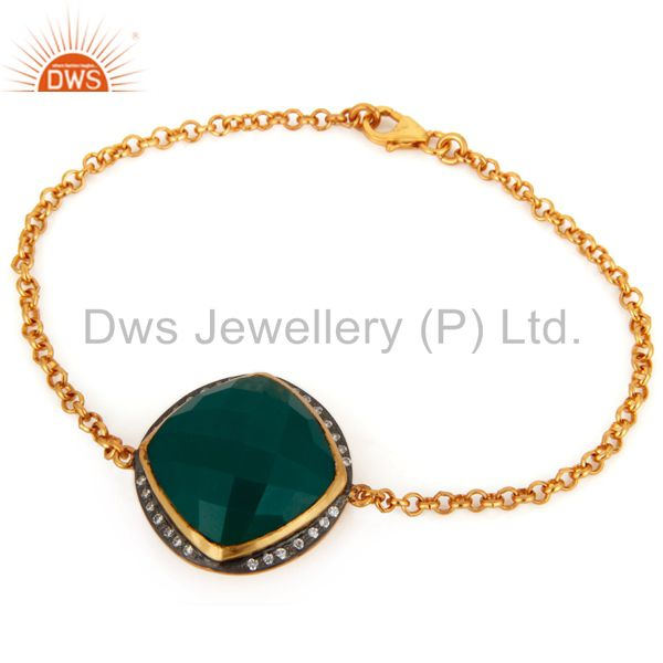 18K Gold Plated 925 Sterling Silver Green Onyx Gemstone Fashion Bracelet Jewelry