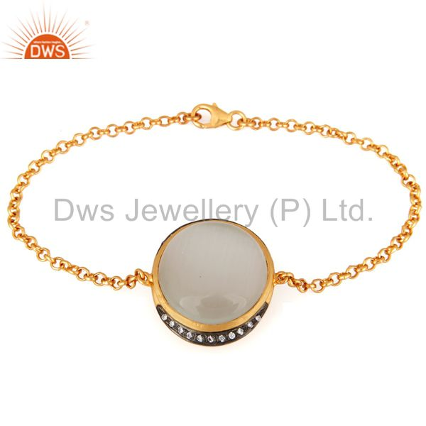 18K Yellow Gold Over Sterling Silver White Moonstone And CZ Fashion Bracelet