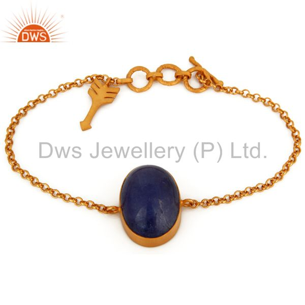 Natural Tanzanite Gemstone Bracelet In 22K Gold Over Sterling Silver Jewelry