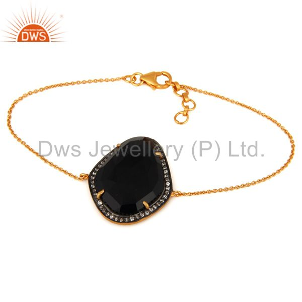 Black Onyx Zircon 18K Yellow Gold Plated 925 Sterling Silver Bracelet Jewelry