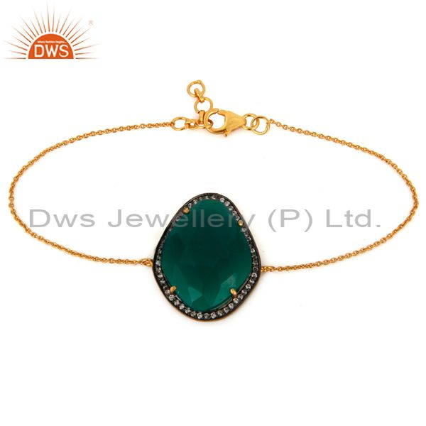 Green Onyx Gemstone 18K Gold Plated 925 Sterling Silver Chain Bracelet With CZ
