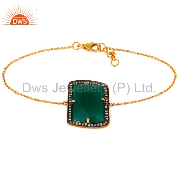 Synthetic Green Onyx Faceted Gemstone Bracelet Made In 18K Gold Over 925 Silver