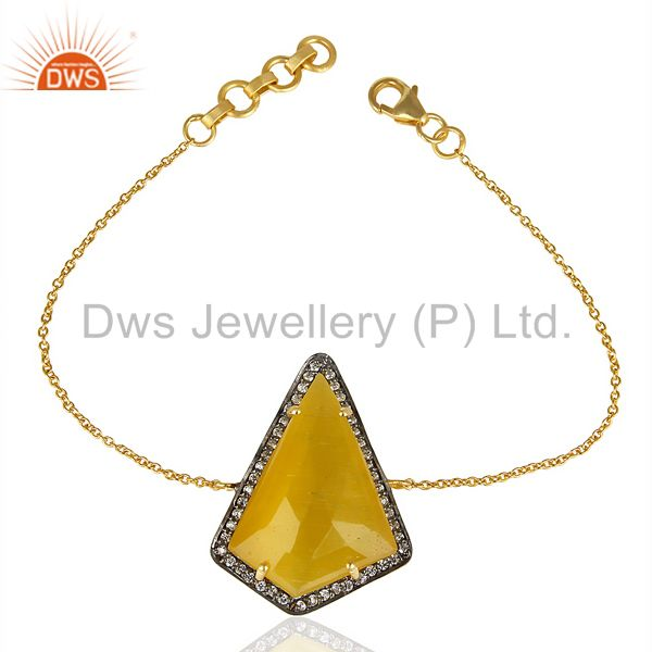 Yellow Chalcedony CZ 14K Yellow Gold Plated 925 Sterling Silver Chain Bracelet