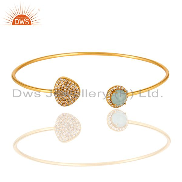 Gold Plated Sterling Silver Blue Chalcedony Gemstone Bangle With Hex Pave Border